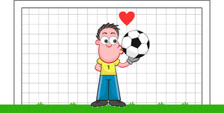 Cartoon Goalkeeper Kissing Ball Royalty Free Stock Photos