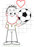 Cartoon Goalkeeper Kissing Ball Stock Photo