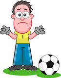 Cartoon Goalkeeper Sad Stock Images