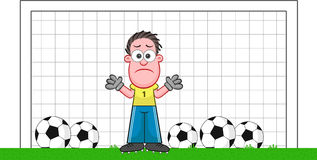 Cartoon Goalkeeper Sad Stock Photography