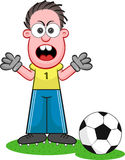 Cartoon Goalkeeper Shouting Stock Images