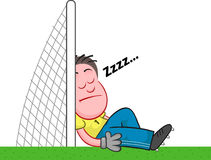Cartoon Goalkeeper Sleeping Stock Images