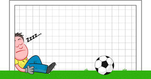 Cartoon Goalkeeper Sleeping Stock Image