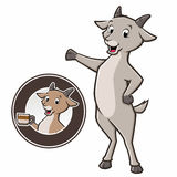Cartoon Goat Coffee. Cartoon goat standing and holding coffee mug in a circular badge Royalty Free Stock Photo