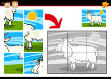Cartoon goat jigsaw puzzle game Stock Photography