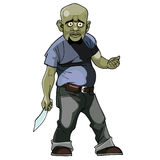 Cartoon goblin man. Thug with a knife Stock Image