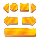 Cartoon gold buttons for game or web design Stock Image