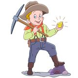 Cartoon gold miner with golden nugget Stock Image