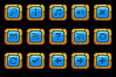 Cartoon gold old blue buttons. With different elements for web or game design Stock Image