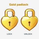 Cartoon gold padlock in heart shaped, Stock Photos