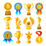 Cartoon Gold Reward Icon Set Royalty Free Stock Images