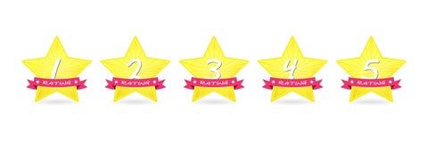 Cartoon 5 gold star with ribbon icon set vector award quality illustration Stock Photo