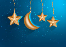 Cartoon gold stars in the night sky. Vector EPS 10. Royalty Free Stock Images
