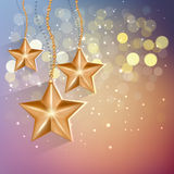 Cartoon gold stars in the night sky. Vector EPS 10. Royalty Free Stock Photography