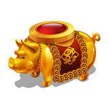 Cartoon golden achievement, Chinese Pig figurine. Vector illustration Stock Image
