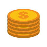 Cartoon golden coin pile dollar Stock Photography