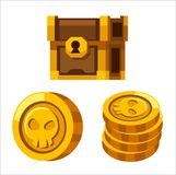 Cartoon golden coins, closed wooden chest. Cartoon golden coins, closed wooden vector chest royalty free illustration