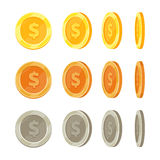 Cartoon golden coins in different positions, gold coin flip vector set Stock Images