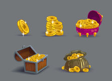 Cartoon golden coins icons set. Stock Photo
