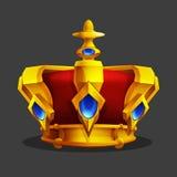 Cartoon golden crown icon. Game trophy asset. Royalty Free Stock Photos