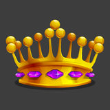 Cartoon golden crown icon. Game trophy asset. Royalty Free Stock Photography