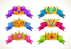 Cartoon golden crowns on the colorful ribbons. Vector illustration stock illustration