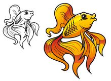 Cartoon golden fish Stock Photo