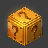 Cartoon golden isometric question box. Royalty Free Stock Photography