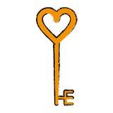 Cartoon golden key shaped heart Stock Images