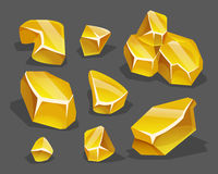 Cartoon golden ore in isometric style. Set of different golden boulders. Stock Photography