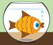 Cartoon Goldfish in Bowl Stock Image