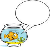 Cartoon goldfish with a caption balloon Stock Image