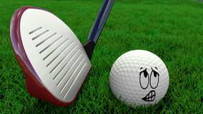 Cartoon golf ball being hit with driver Stock Images