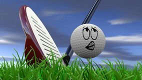 Cartoon golf ball being hit with driver. With worried look Royalty Free Stock Image