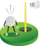 Cartoon golf ball at the last hole. Anxious cartoon character golf ball at the 18th hole Royalty Free Stock Image