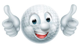 Cartoon Golf Ball Man. Golf ball man mascot character doing a double thumbs up royalty free illustration