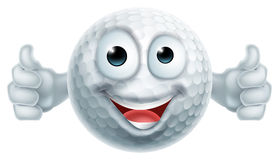 Cartoon Golf Ball Thumbs Up Man Character. A happy cartoon golf ball man mascot character doing a double thumbs up royalty free illustration