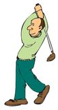 Cartoon golfer. Cartoon of a golfer swinging his driver Royalty Free Stock Photography