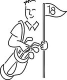 Cartoon Golfer/ai. Cartoon illustration of a golfer carrying a golfbag and holding a pin flag Stock Photography
