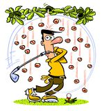 Cartoon golfer under falling coconuts Royalty Free Stock Images