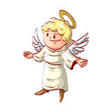 Cartoon good angel with welcoming hands Royalty Free Stock Images