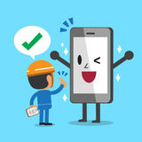 Cartoon good smartphone checked by engineer Stock Images