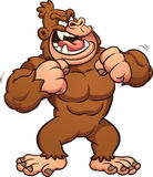 Cartoon gorilla. Banging its chest. Vector clip art illustration with simple gradients. All in a single layer Royalty Free Stock Image