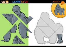 Cartoon gorilla puzzle game. Cartoon Illustration of Education Puzzle Game for Preschool Children with Funny Gorilla Royalty Free Stock Image