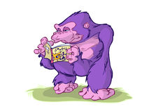 Cartoon Gorilla reading book Stock Image