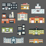 Cartoon government buildings in flat style vector illustration Royalty Free Stock Images