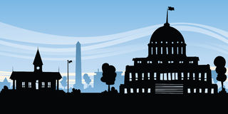 Cartoon Government. Cartoon silhouette of government buildings in a capital city stock illustration