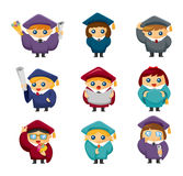 Cartoon Graduate students icons set Royalty Free Stock Photo