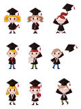 Cartoon Graduate students icons set Royalty Free Stock Photography