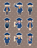 Cartoon Graduate students stickers Stock Photo